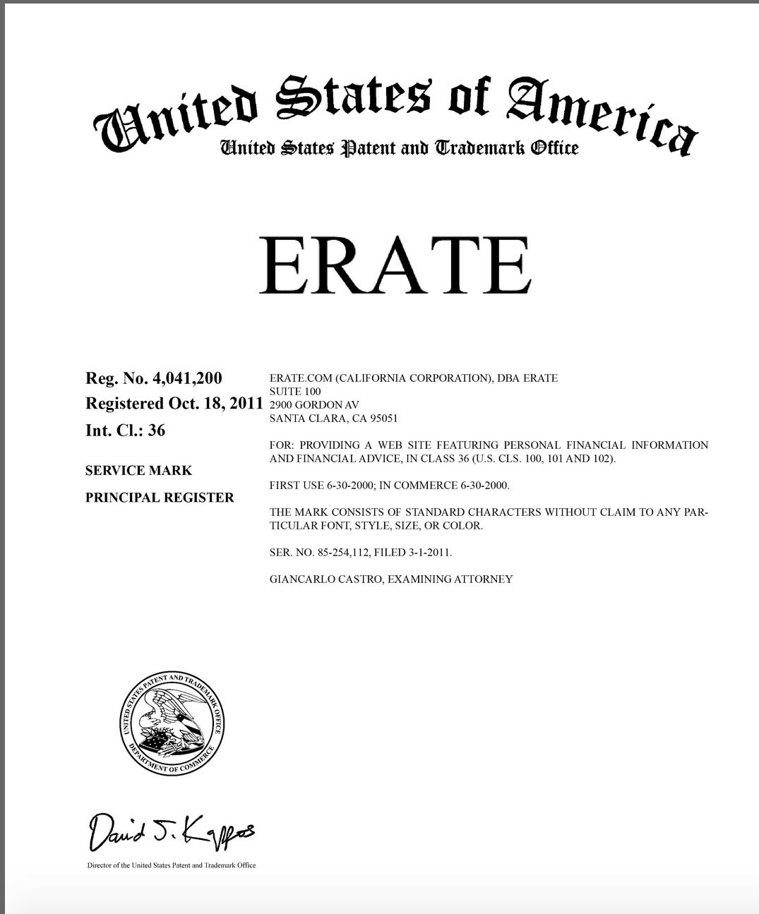 ERATE.com owns the Incontestable USPTO Trademark known as ERATE®
